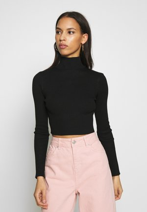 BASIC HIGH NECK DETAIL KNITTED CROP - Pullover - black