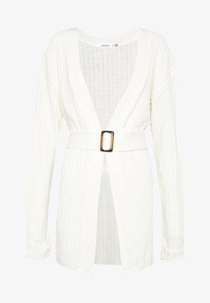 EXTREME RIB BELTED CARDIGAN - Vest - cream