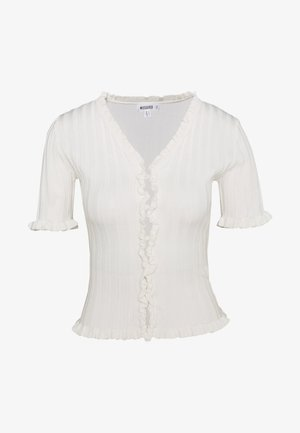 RIBBED FRILL KNITTED TOP - Print T-shirt - white
