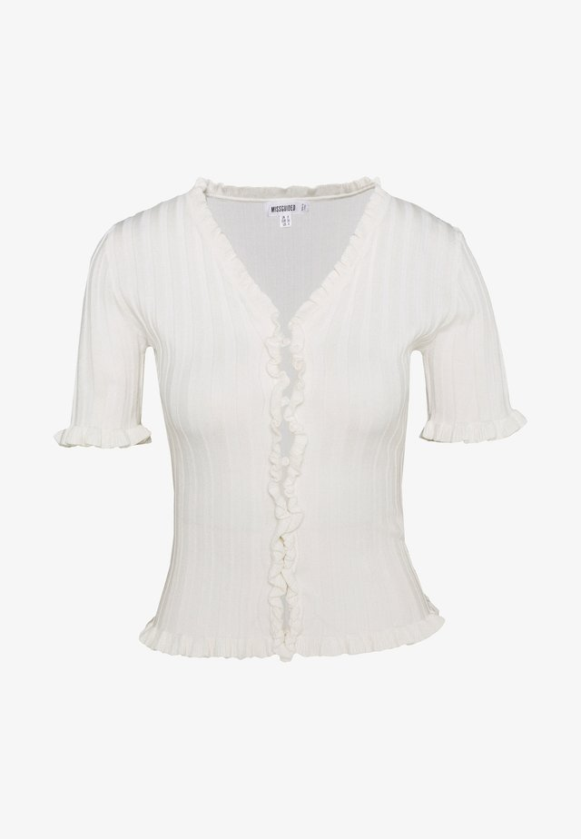 RIBBED FRILL KNITTED TOP - T-Shirt print - white