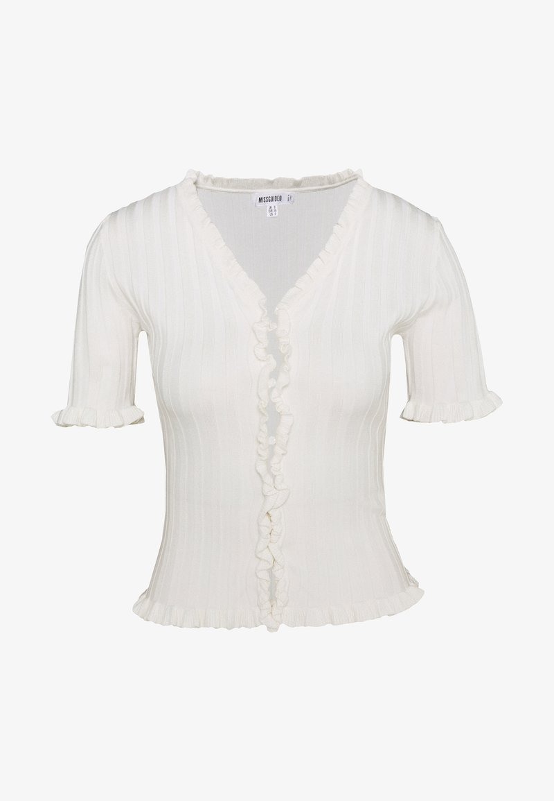 Missguided - RIBBED FRILL KNITTED TOP - T-shirt con stampa - white