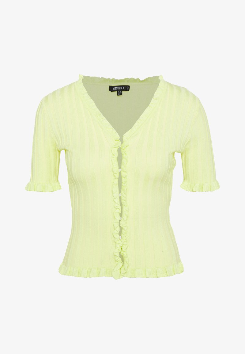 Missguided - RIBBED FRILL KNITTED TOP - Print T-shirt - green