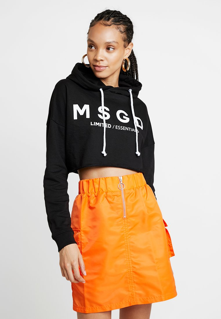 Missguided - CROP HOODIE - Jersey con capucha - black