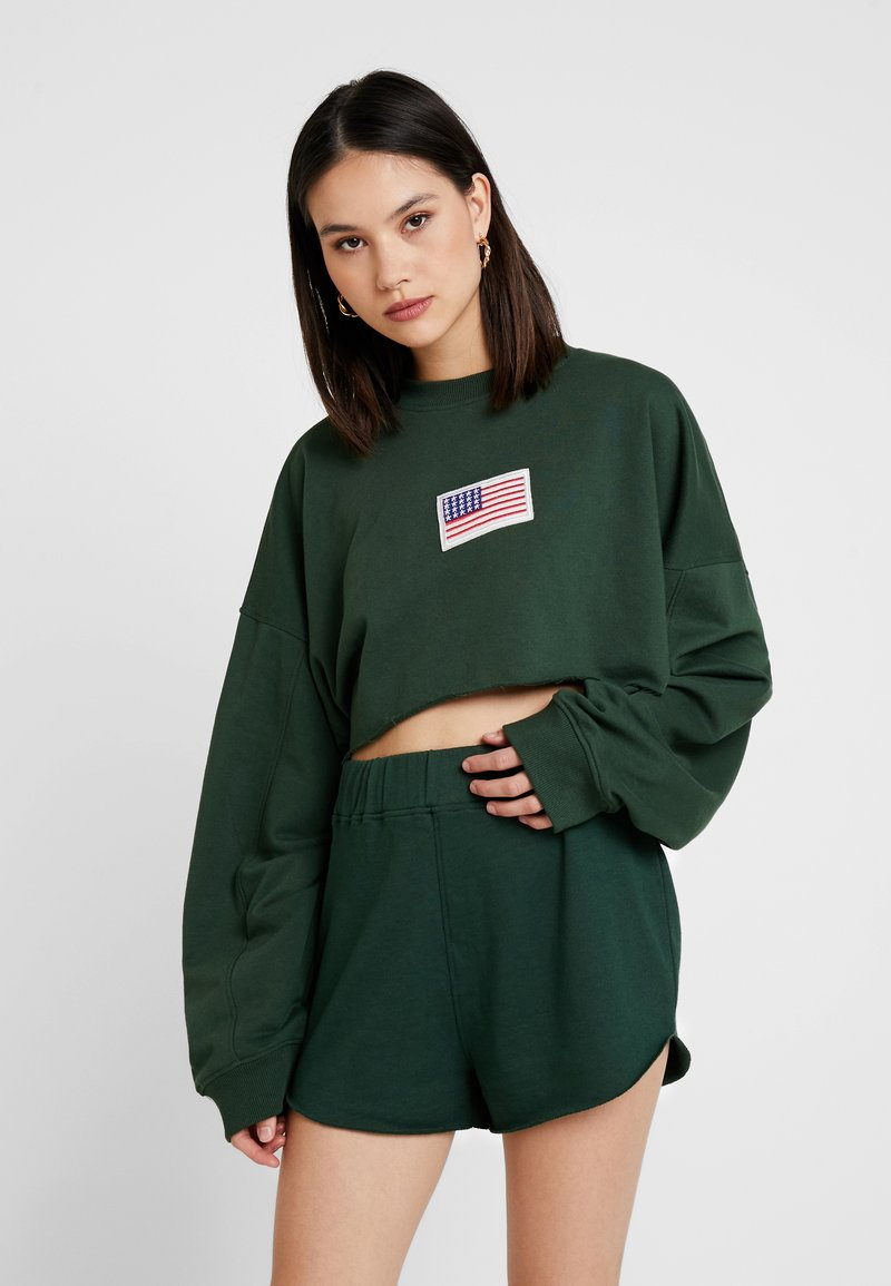 Missguided - USA FLAG CROPPED - Sweatshirt - green