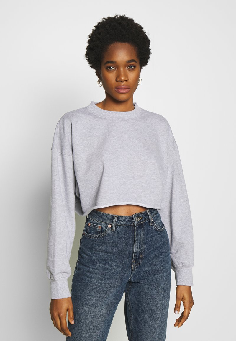 Missguided - CROPPED RAW HEM - Sweatshirt - grey