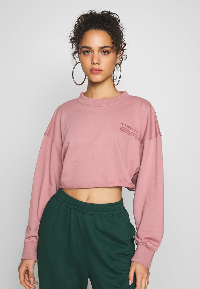 CROPPED RAW HEM - Sweater - pink
