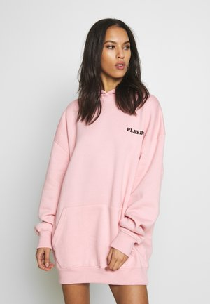 PLAYBOY GIRL MAGAZINE BACK GRAPHIC HOODIE JUMPER DRESS - Vestido informal - baby pink