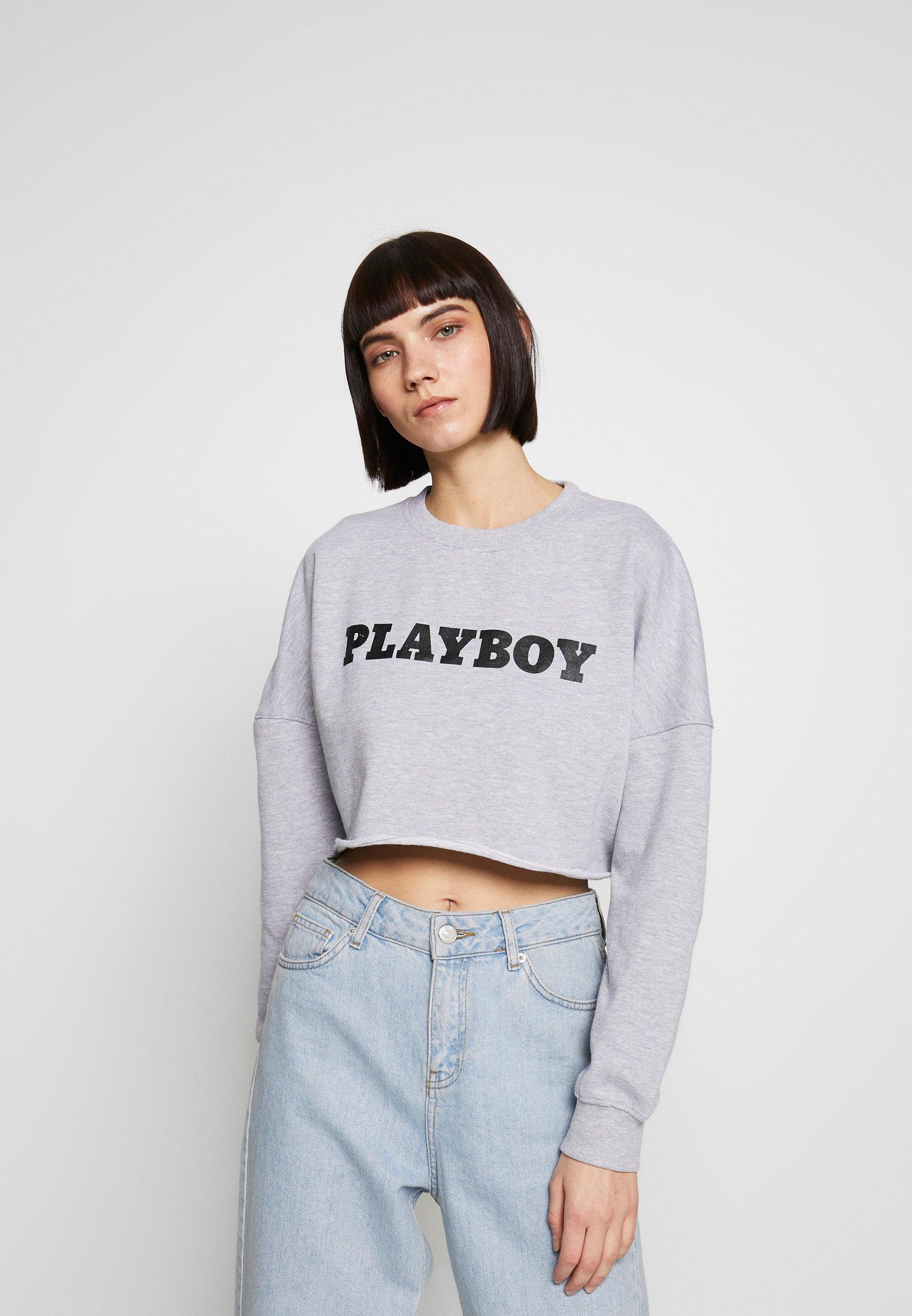 Missguided PLAYBOY LONG SLEEVE LOUNGE - Bluza - grey