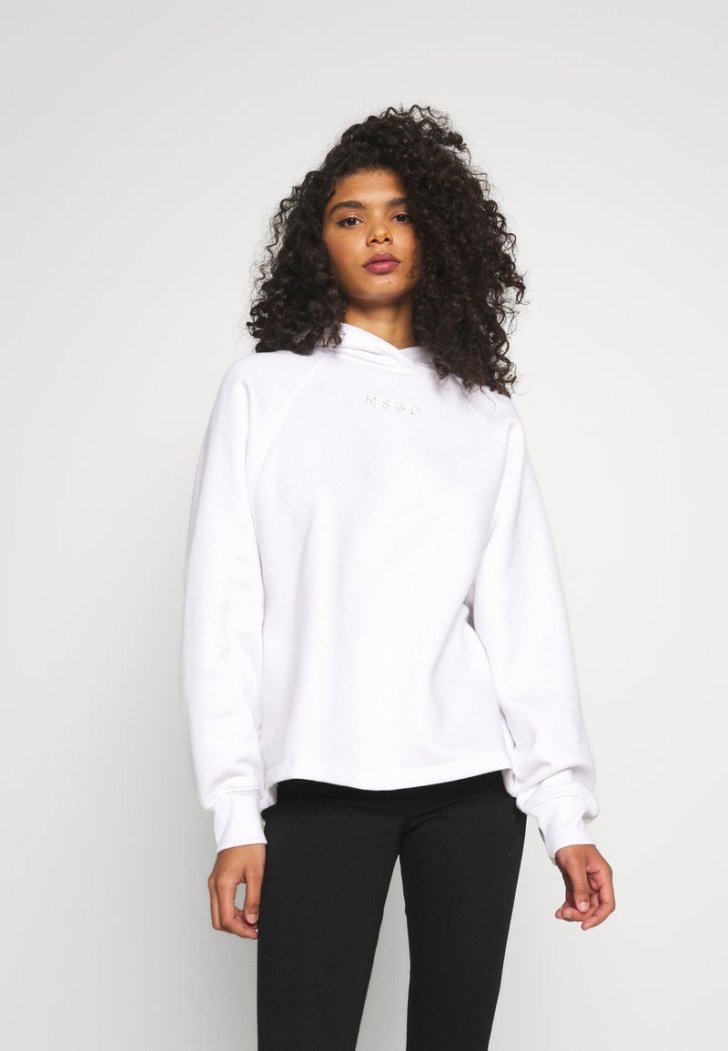 Missguided - LOOPBACK DRAWSTRING HOODY - Bluza z kapturem - white
