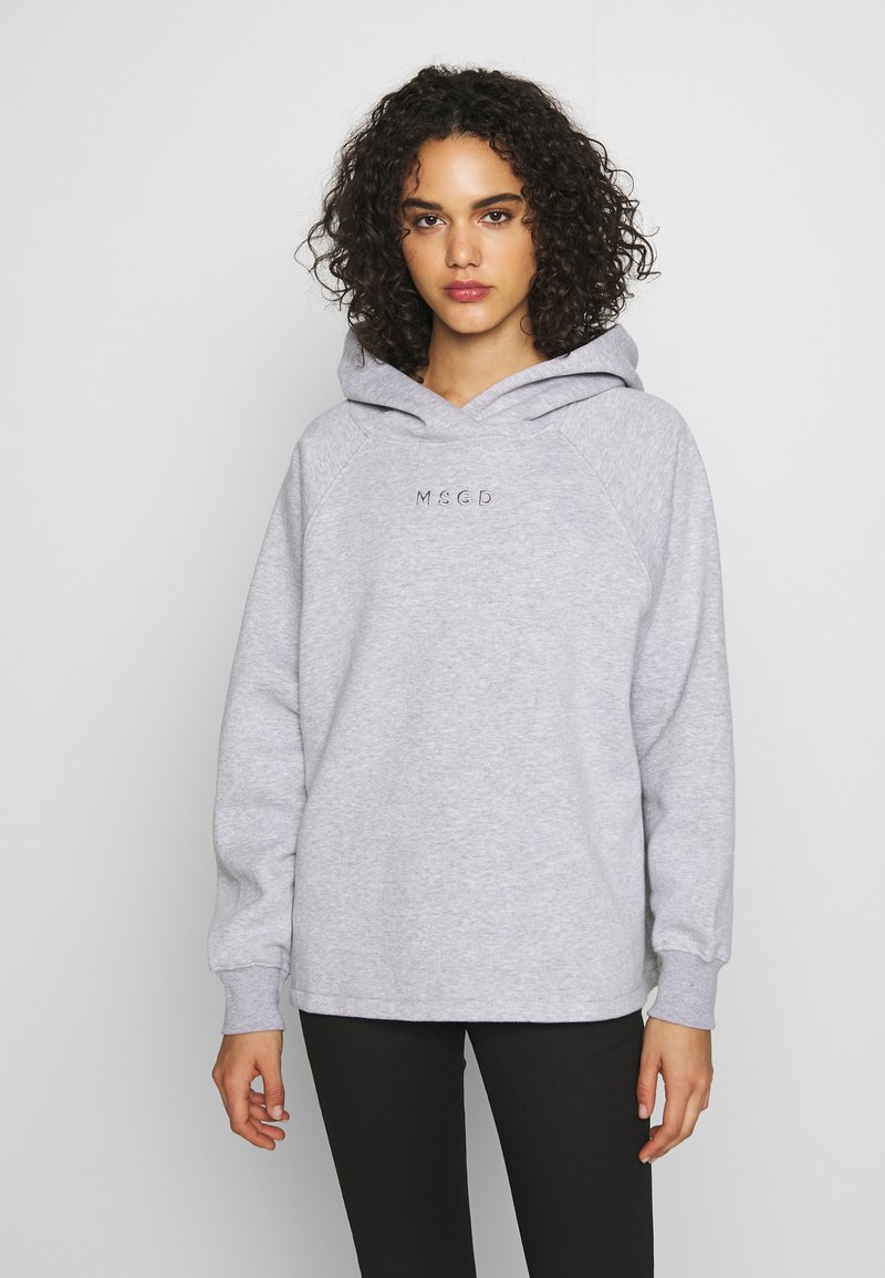 Missguided - LOOPBACK DRAWSTRING HOODY - Bluza z kapturem - grey