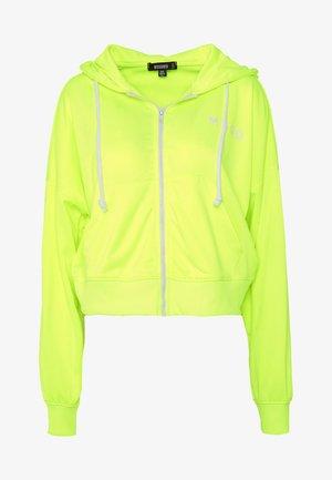 ZIP FRONT CORAL HOODIE - Felpa aperta - neon yellow