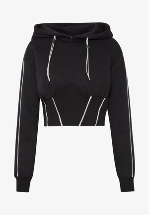 CORSET PIPE DETAIL CROP HOODIE - Jersey con capucha - black