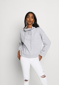 Missguided - HIGH NECK TIE DETAIL LONG SLEEVE - Mikina - grey - 0