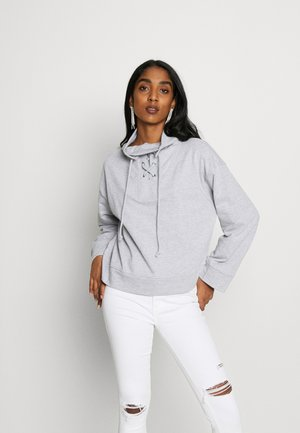 HIGH NECK TIE DETAIL LONG SLEEVE - Sweater - grey