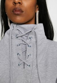 Missguided - HIGH NECK TIE DETAIL LONG SLEEVE - Mikina - grey - 4