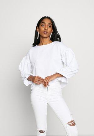 BALLOON SLEEVE FRILL CUFF - Sweater - white