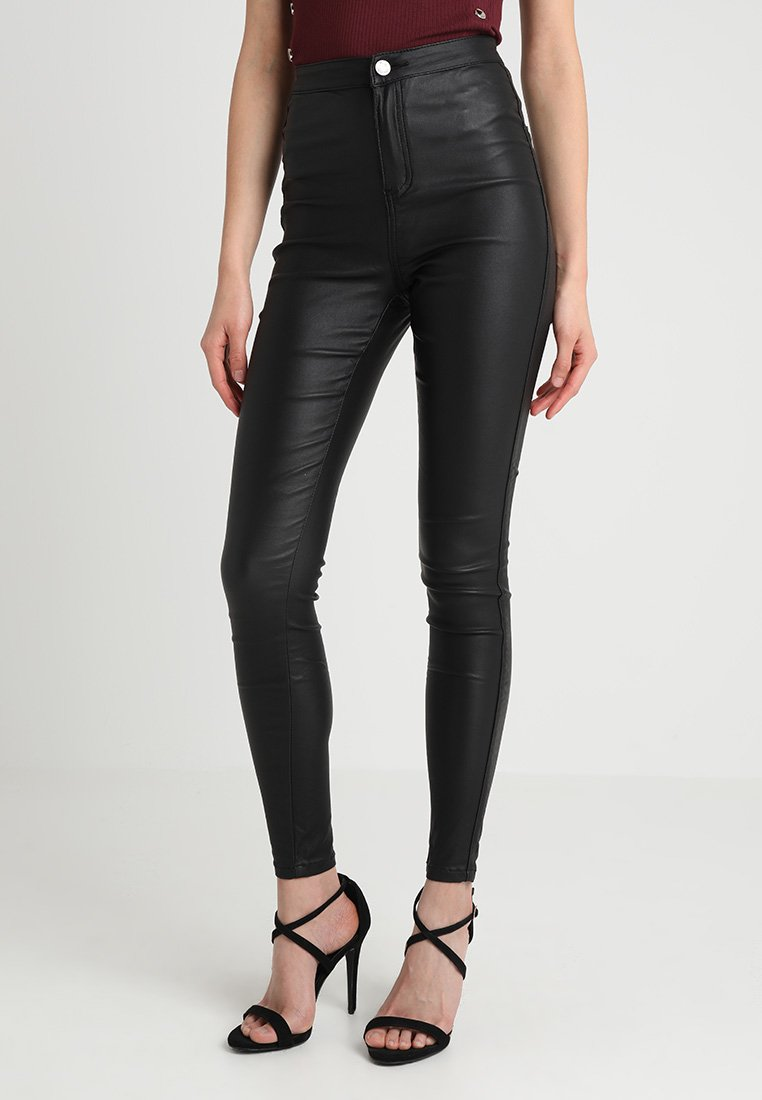 Missguided - VICE HIGH WAISTED  - Bukse - coated black