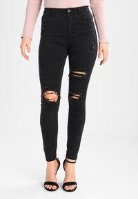 Missguided - SINNER HIGHWAISTED AUTHENTIC RIPPED  - Jeans Skinny - dark grey - 0