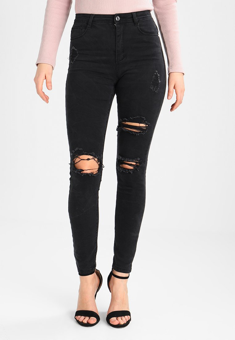 Missguided - SINNER HIGHWAISTED AUTHENTIC RIPPED  - Jeans Skinny - dark grey