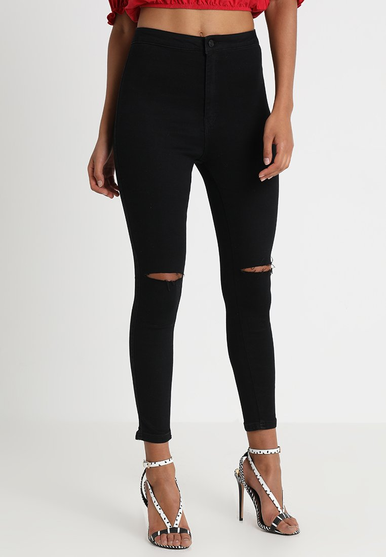 Missguided - VICE HIGHWAISTED SLASH KNEE  - Jeans Skinny Fit - black