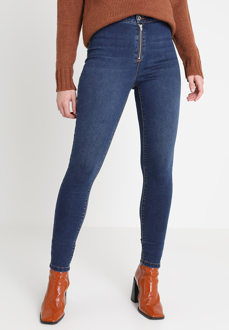 Missguided - VICE EXPOSED ZIP BUTTON DETAIL - Jeans Skinny Fit - new indigo