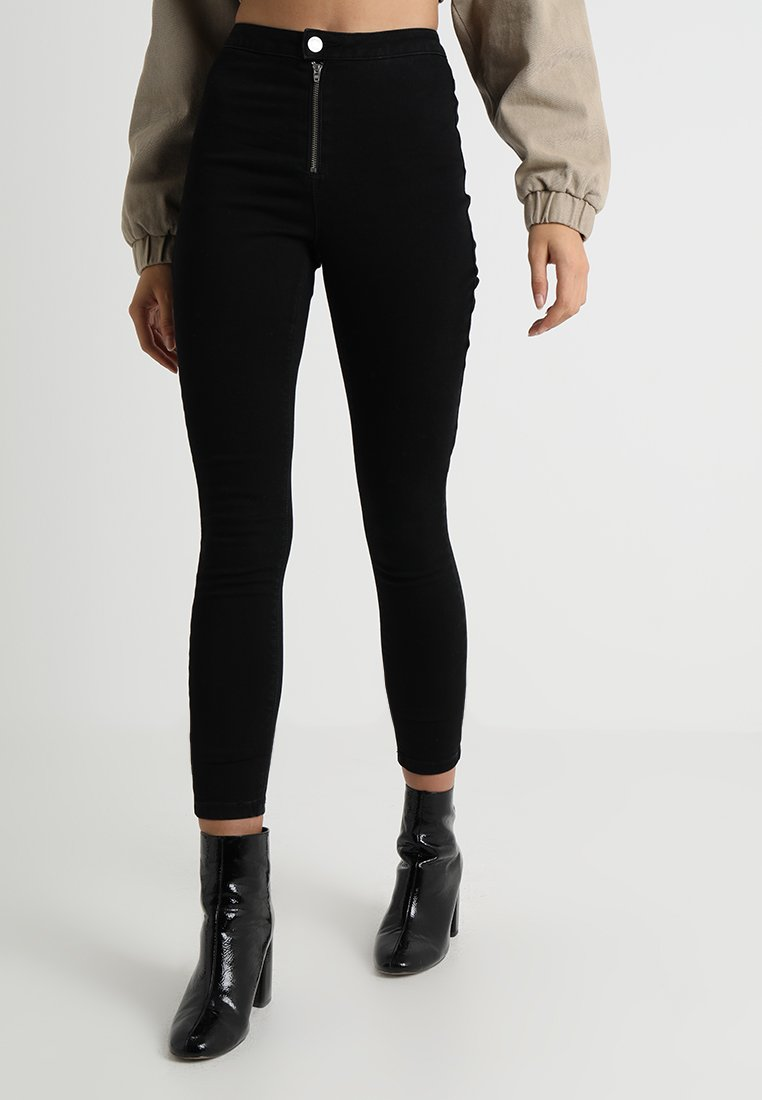 Missguided - VICE EXPOSED ZIP BUTTON DETAIL - Jeans Skinny - black