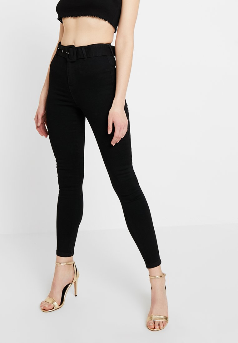 Missguided - SELF FABRIC BELTED VICE - Jeans Skinny Fit - black