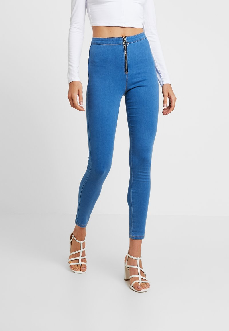 Missguided - RING ZIP OUTLAW - Jeggings - blue