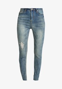 Missguided - SINNER SINGLE KNEE RIP VINTAGE - Jeans Skinny Fit - blue - 4