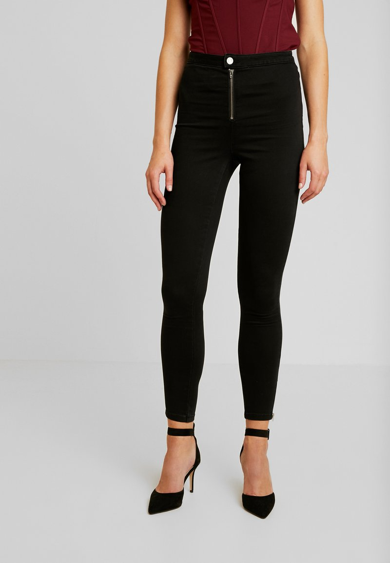 Missguided - VICE BUTTON UP WITH ANKLE ZIP - Vaqueros pitillo - black