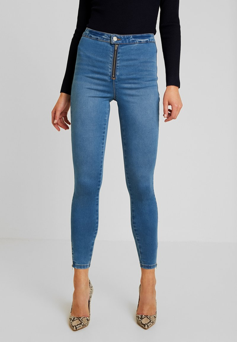 Missguided - VICE EXPOSED ZIP AND BUTTON WITH ANKLE ZIP - Vaqueros pitillo - blue