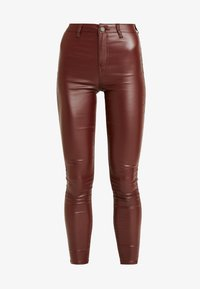 Missguided - VICE HIGHWAISTED COATED - Trousers - burgandy - 3