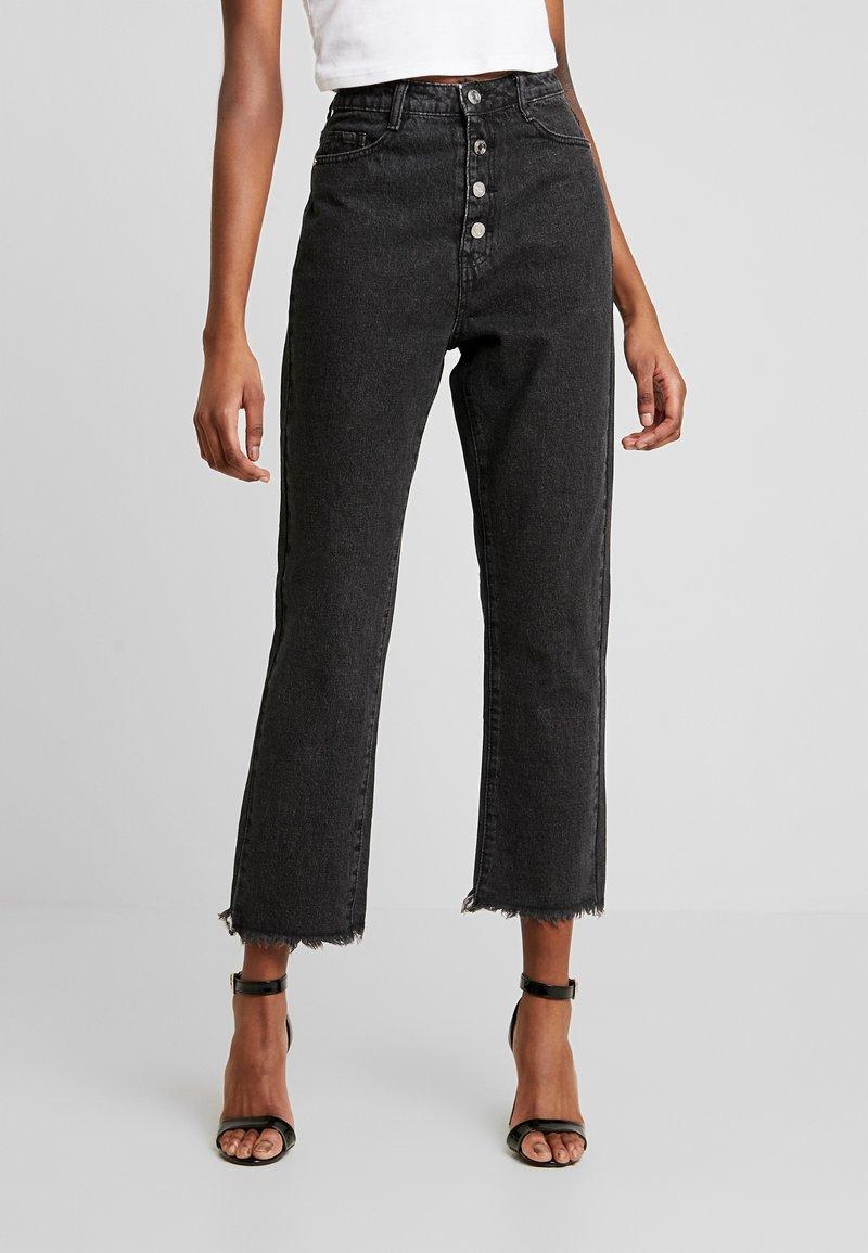 Missguided - WRATH BUTTON HIGH RISE STRAIGHT LEG - Jeans straight leg - black