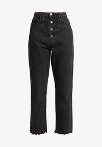 Missguided - WRATH BUTTON HIGH RISE STRAIGHT LEG - Jeans straight leg - black - 3
