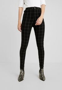 Missguided - VICE CHECKED HIGHWAISTED - Skinny-Farkut - black - 0