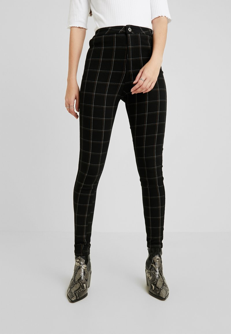 Missguided - VICE CHECKED HIGHWAISTED - Skinny-Farkut - black
