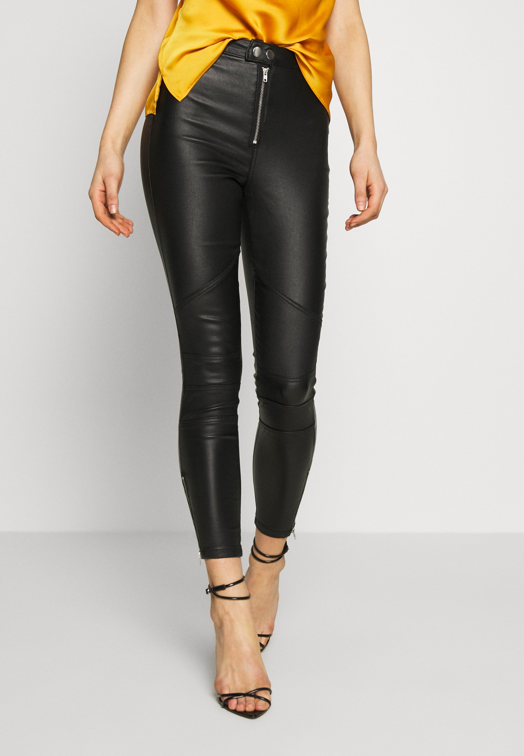 Missguided VICE DOUBLE POPPER COATED BIKER - Jeansy Skinny Fit - black