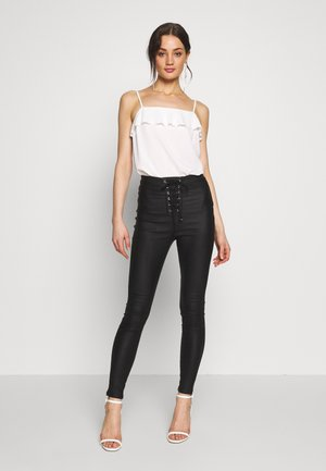VICE COATED FRONT - Skinny džíny - black