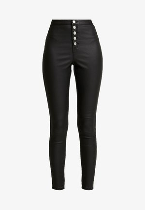 VICE HIGH WAISTED BUTTON DETAIL - Skinny džíny - black