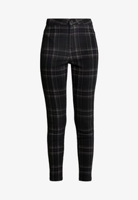 Missguided - CHECK VICE CHECKED HIGHWAISTED - Jeans Skinny Fit - black - 4