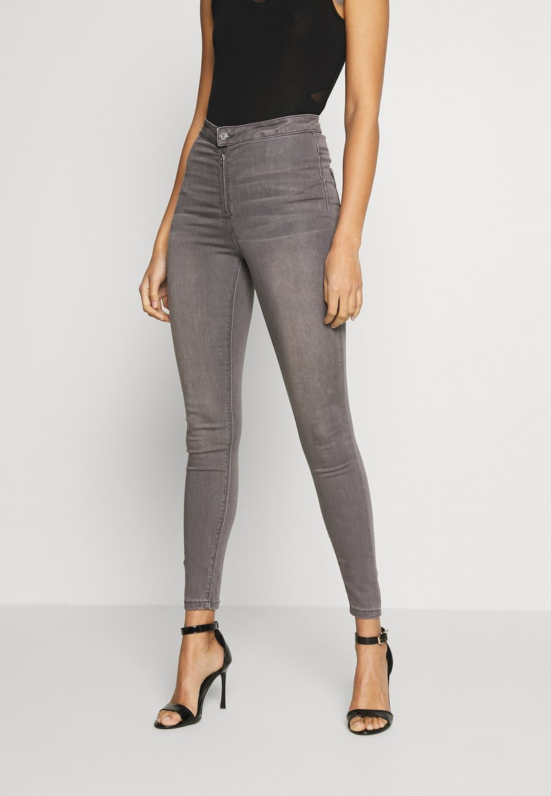 Missguided - VICE EXPOSED ZIP BUTTON DETAIL - Jeans Skinny Fit - grey