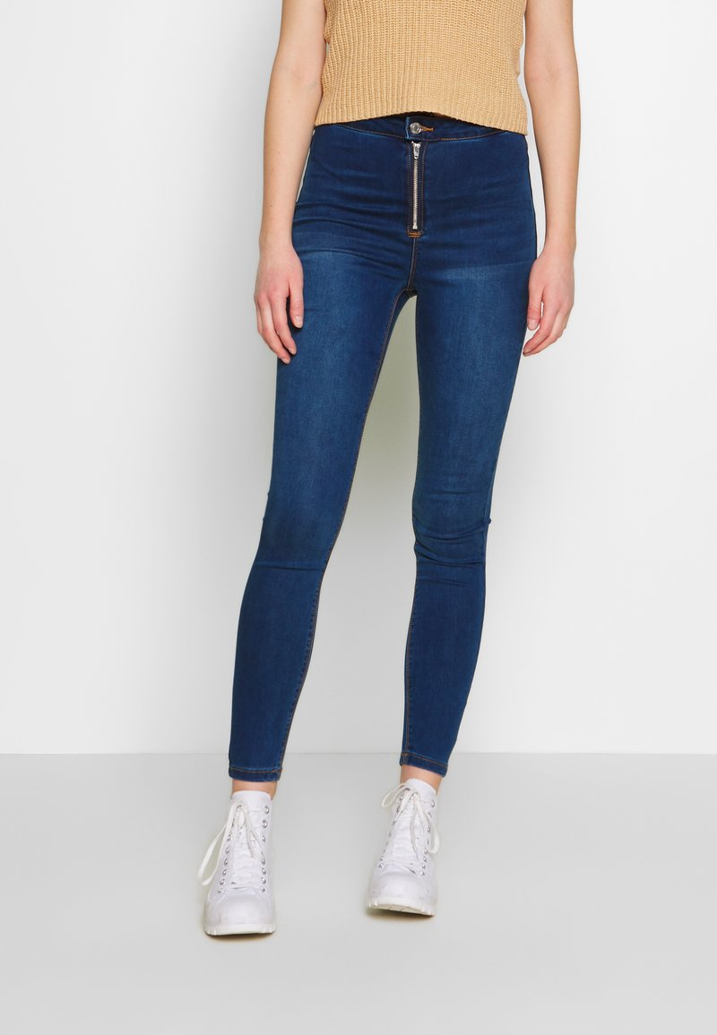 Missguided - VICE EXPOSED ZIP BUTTON DETAIL - Jeans Skinny - new indigo