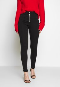 Missguided - VICE EXPOSED ZIP BUTTON DETAIL - Skinny-Farkut - black - 0