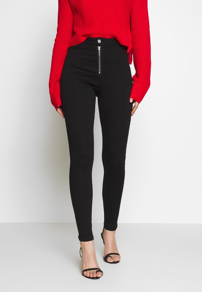 Missguided - VICE EXPOSED ZIP BUTTON DETAIL - Skinny-Farkut - black