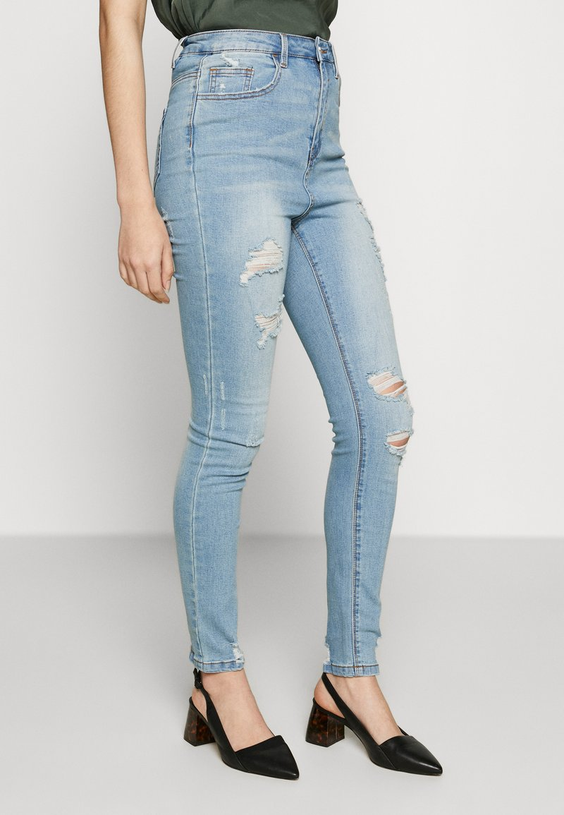 Missguided - SINNER HIGHWAISTED DISTRESSED BROKEN  - Jeans Skinny Fit - light wash