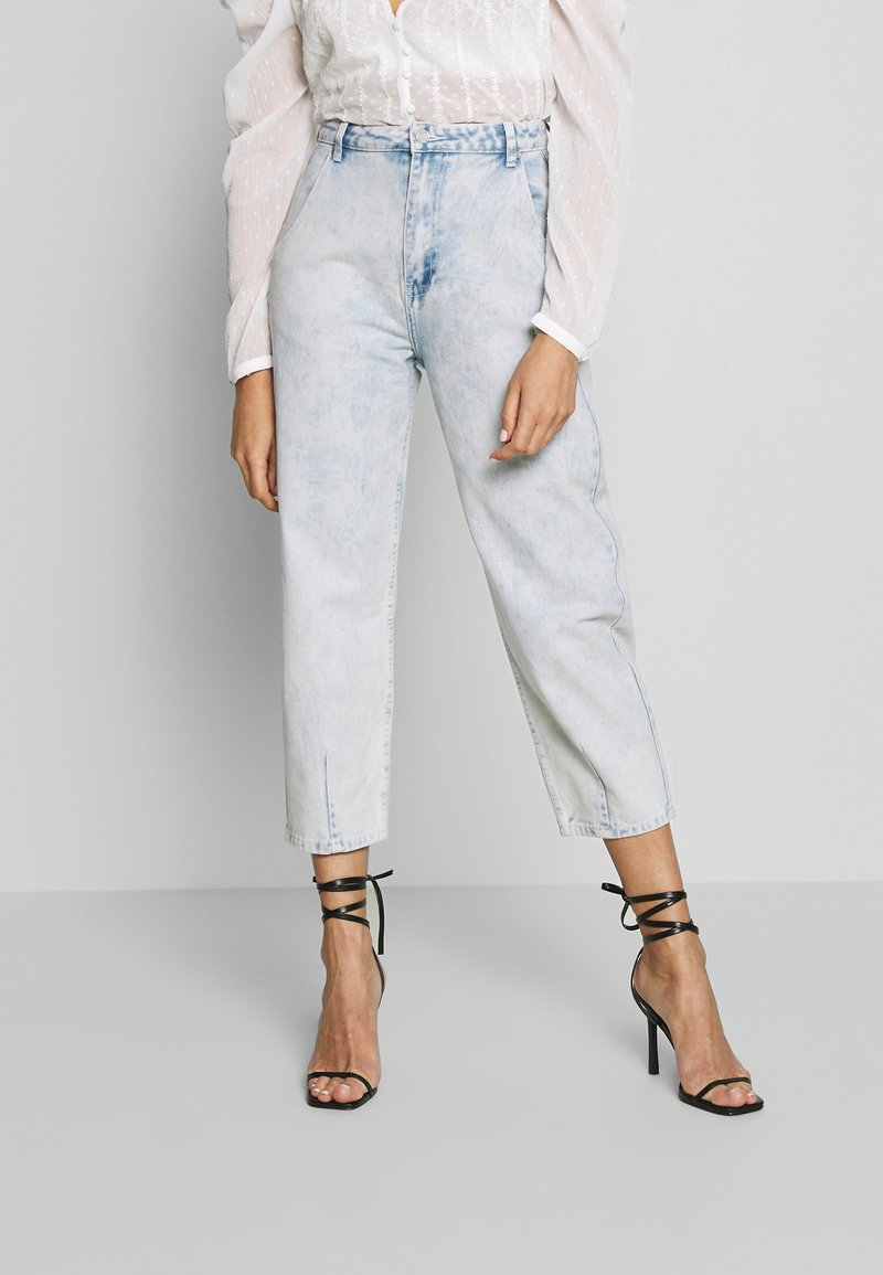 Missguided - HIGHWAISTED SLOUCH JEAN  - Jeansy Relaxed Fit - blue bleach