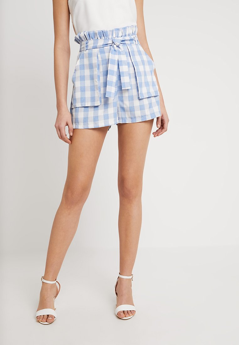 Missguided - CHECK PAPERBAG WAIST BELTED - Szorty - blue