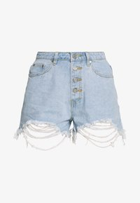 Missguided - RIOT HIGHWAISTED DISTRESS MOM SHORT - Jeans Shorts - light wash - 3