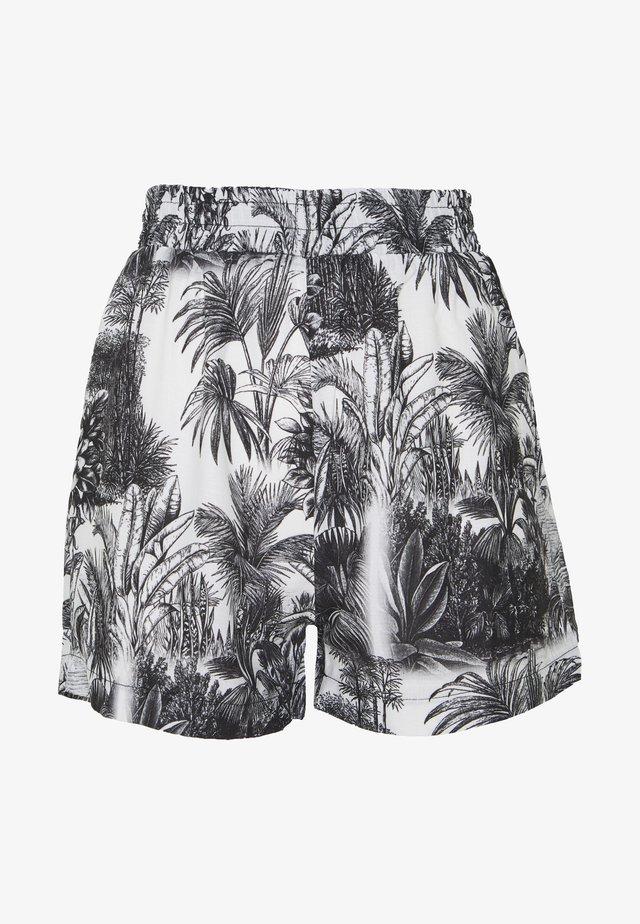 LEAF PRINT HIGH WAISTED  - Shorts - white