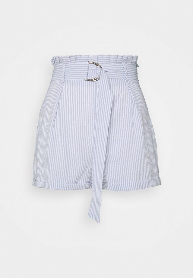 STRIPE PAPERBAG WAIST BELTED  - Shorts - blue